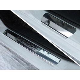 Накладки на пороги (лист зеркальный надпись Mazda) ТСС MAZ615-05 для Mazda 6 (2015 - 2017)
