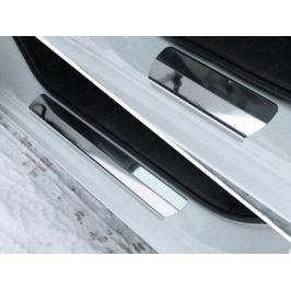 Накладки на пороги (лист зеркальный) ТСС MAZ615-03 для Mazda 6 (2015 - 2017)