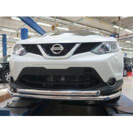 Защита переднего бампера двойная d 60/60 мм, нерж. (сборка Англия) CAN Otomotiv NIQA.33.2081 для Nissan Qashqai 13-