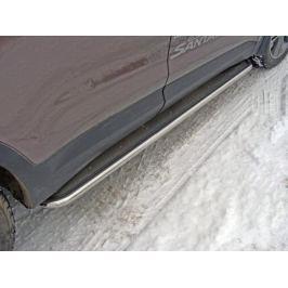 Пороги с площадкой (нерж. лист) 42,4 мм (для авто 2016 г.в.) ТСС HYUNSFGR16-11 для HYUNDAI Grand Santa Fe (2012 - 2016)