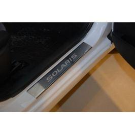 Накладки на внутренние пороги с надписью, нерж. сталь, 4 шт. Alu-Frost 08-0681 для Hyundai Solaris 2011-