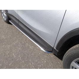 Пороги с площадкой 42,4 мм (нерж. лист) ТСС MAZCX515-10 для Mazda CX-5 (2015 - 2017)