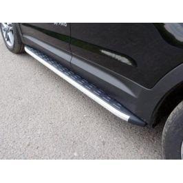 Пороги алюминиевые с пластиковой накладкой 1820 мм (для авто 2016 г.в.) ТСС HYUNSFGR16-18AL для HYUNDAI Grand Santa Fe (2012 - 2016)