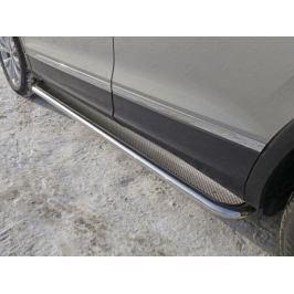 Защита порогов 60мм (лист нерж.) VWTIG17-11 для Volkswagen Tiguan 2017-