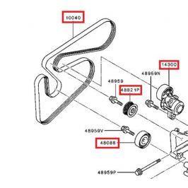 Ремень привода генератора и ролики MITSUBISHI