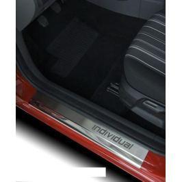 Накладки на внутренние пороги с надписью, нерж. сталь, 2 шт. Alu-Frost 08-0607 для Mitsubishi Pajero IV 2006-