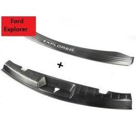 Накладки на задний бампер (черная хром) для Ford Explorer 2015-