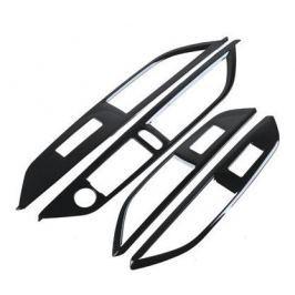 Декоративные накладки на стеклоподъемники карбон (черный) для Peugeot 3008 2017-