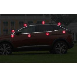 Хромированные молдинги на окна (верх+низ) для Peugeot 3008 2017-