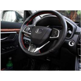 Оплетка руля (кожа, цвет красный, черный) для Honda CRV 2017 -