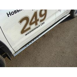 Боковые подножки, пороги овальные с проступью (толщина 75 мм / 42 мм.) TCC TOYHIGHL17-03 для Toyota Highlander 2017 -