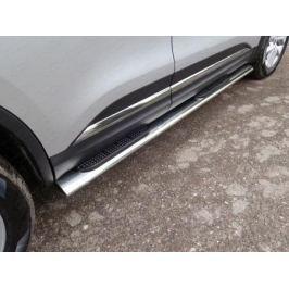 Боковые подножки, пороги с накладкой (диаметр 120 мм / 60 мм) ТСС RENKOL17-30 для Renault Koleos 2017 -
