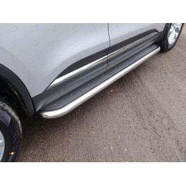 Боковые подножки, пороги (нержавеющая сталь, диаметр 60,3 мм) ТСС RENKOL17-24 для Renault Koleos 2017 -