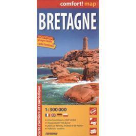 Bretagne = Бретань. Ламинированная карта. 1:300 000