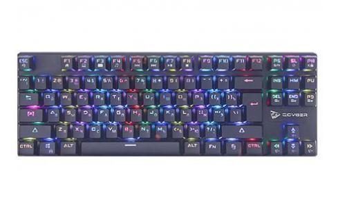 Клавиатура механическая игровая QCYBER DOMINATOR TKL(QC-03-008DV01), короткая, свитчи RED, RGB подсветка, тканевый провод, подключение USB Клавиатуры и комплекты