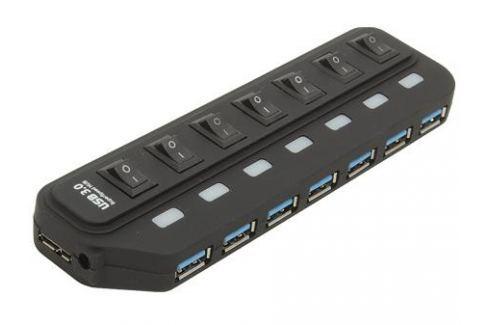 Концентратор USB 3.0 Orient 7 Port Orient BC-316 c внешним БП (5V, 3A), выключатели на каждый порт, черный Контроллеры