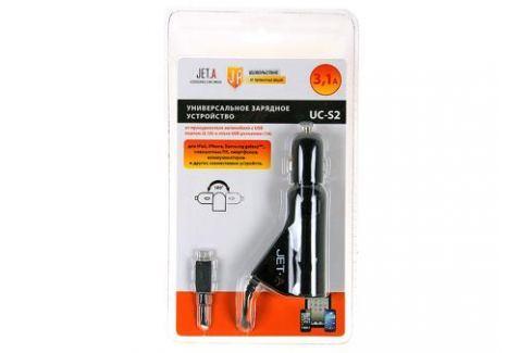Универсальное зарядное устройство Jet.A UC-S2 от прикуривателя 12В (1 USB-порт, 3,1А, встроенный кабель micro USB) Зарядные устройства и аккумуляторы