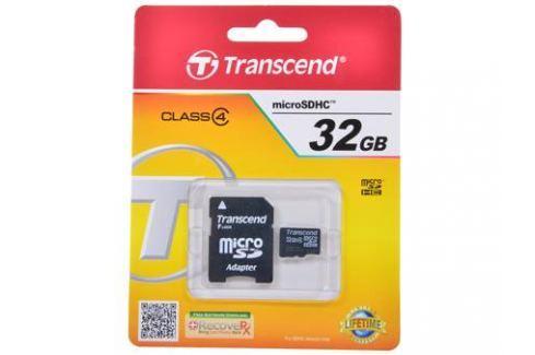 MicroSDHC Transcend 32GB Class 4 + Адаптер (TS32GUSDHC4) Карты памяти