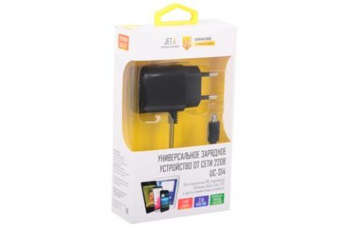 Универсальное зарядное устройство Jet.A от сети 220В UC-S14 (2 USB-портa, 2.1А, встроенный кабель micro USB) Цвет - чёрный Зарядные устройства и аккумуляторы