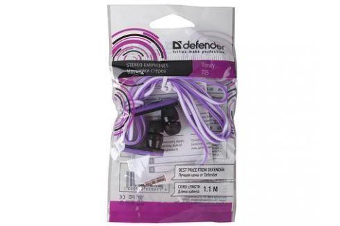 Наушники Defender Trendy-705 для MP3, сиренев&черный, 1,1 м Микрофоны и наушники