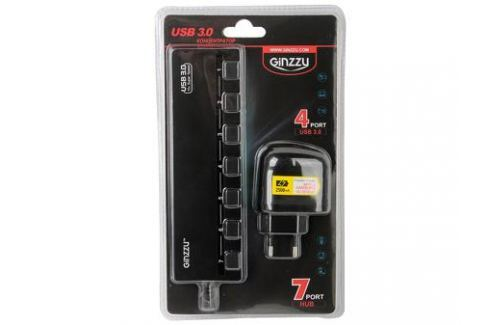 Концентратор USB3.0 HUB 7 портов (3xUSB2.0 + 4xUSB3.0) Ginzzu GR-388UAB + блок питания Контроллеры