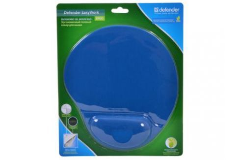 Коврик для мыши Defender гелевый Easy Work (синяя лайкра) нескользящ.основа,260х225х5мм Аксессуары