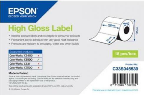 Бумага Epson High Gloss Label 102x51мм C33S045539 Бумага