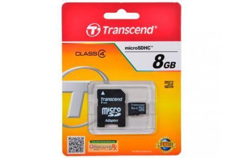 MicroSDHC Transcend 8GB Class 4 + Адаптер (TS8GUSDHC4) Карты памяти