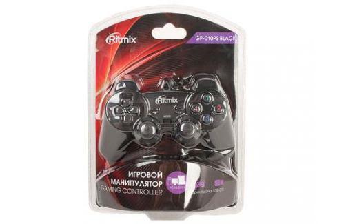 Геймпад RITMIX GP-010PS Black для ПК/PS2-3, USB+PS коннектор, 2 вибромотора, 17 кнопок, кабель 1,5м Джойстики и геймпады