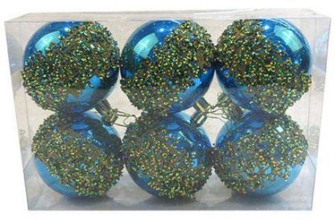 Набор шаров Новогодняя сказка 972914 8 см 6 шт голубой пластик Аксессуары