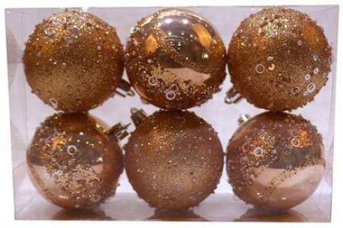Набор шаров Новогодняя сказка 972934 7 см 6 шт розовое шампанское пластик Аксессуары
