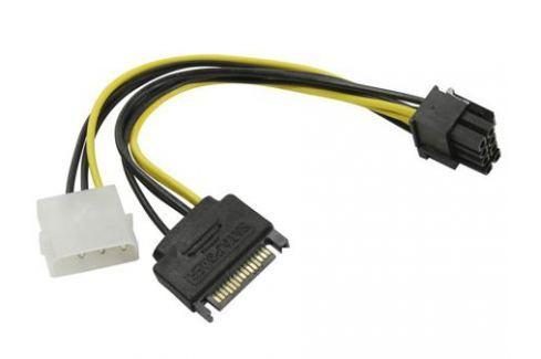 Переходник питания для PCI-Ex видеокарт Molex 4pin (M) + SATA 15pin (M) - 8pin ORIENT C578 Кабели и переходники