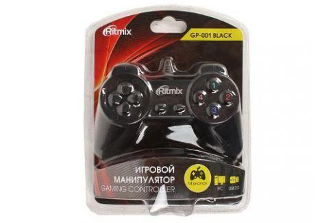 Геймпад RITMIX GP-001 Black для ПК, USB, 14 кнопок, кабель 1,5м Джойстики и геймпады