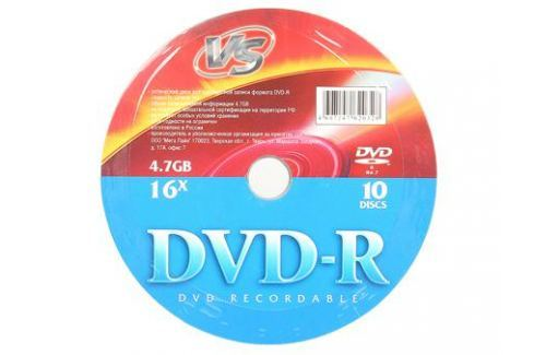 DVD-R VS 4.7Gb 16x 10шт Shrink Диски, дискеты