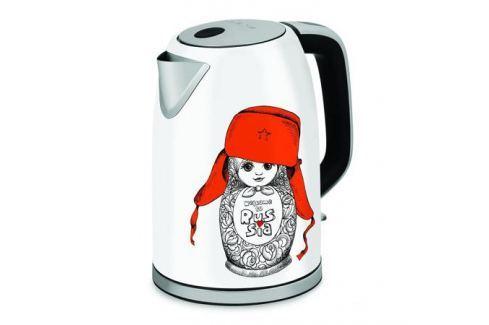 Чайник Polaris PWK 1715CA белый/рисунок 2200 Вт, 1.7 л, металл Чайники(электро)
