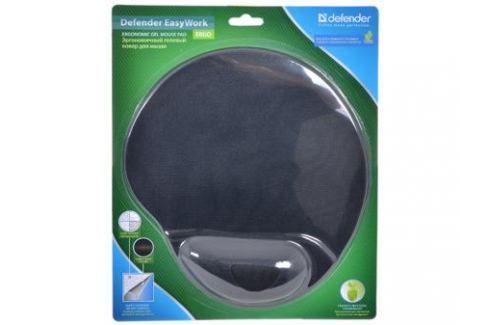 Коврик для мыши Defender гелевый Easy Work (черная лайкра) нескользящ.основа,260х225х5мм Аксессуары