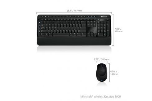 (MFC-00019) Клавиатура+мышь Microsoft Wireless Desktop 3000 USB BlueTrack Black Retail Клавиатуры и комплекты