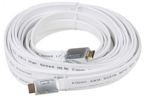 Кабель HDMI 19M/19M 10m ver:1.4 +3D/Ethernet AOpen [ACG545A_W-10M] Серебряно-белый Flat Top Quality Кабели и переходники