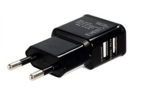 Зарядное устройство/адаптер питания USB от эл.сети Orient PU-2402, два выхода USB, 5В / 2.1A, черный Зарядные устройства и аккумуляторы