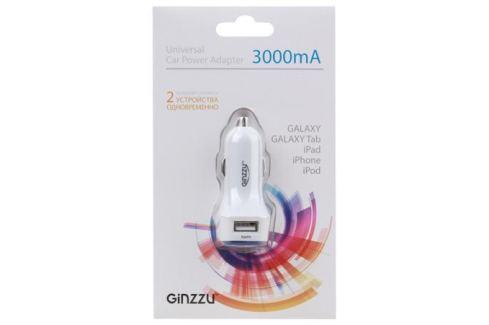 Автомобильное зарядное устройство Ginzzu GA-4415UW, АЗУ 5В/3.0A, 2USB, белый Зарядные устройства и аккумуляторы