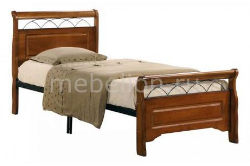Кровать односпальная Петроторг 6136 дуб/черный Односпальные