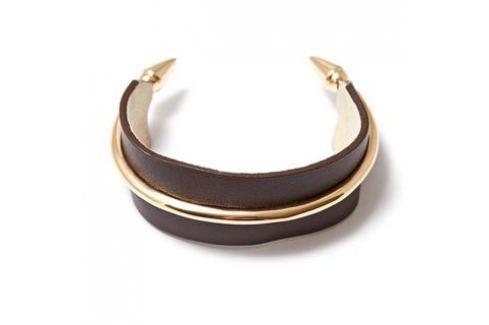 Браслеты Herald Percy Коричневый кожаный браслет с металлическими элементами Браслеты