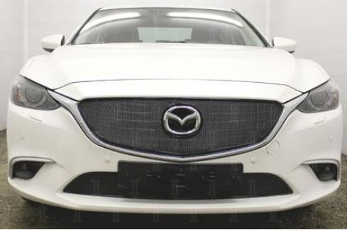 Защита радиатора Premium, чёрная, верх Allest MZ6.15.PREMIUM.top.black для Mazda 6 (2015 - 2017) 6 ( 2012 - 2017)
