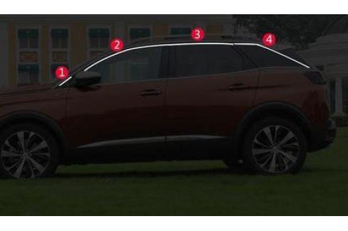 Хромированные молдинги на окна (верхнии) для Peugeot 3008 2017- 3008 ( 2017 - по н.в. )